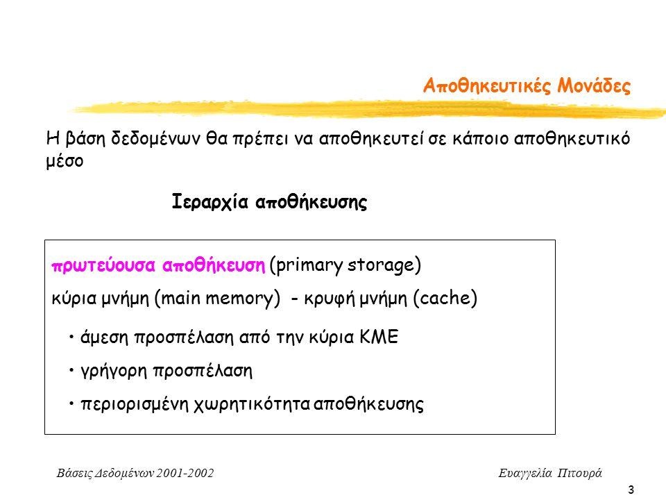 Βάσεις Δεδομένων 2001-2002 Ευαγγελία Πιτουρά 3 Αποθηκευτικές Μονάδες Η βάση δεδομένων θα πρέπει να αποθηκευτεί σε κάποιο αποθηκευτικό μέσο Ιεραρχία αποθήκευσης πρωτεύουσα αποθήκευση (primary storage) κύρια μνήμη (main memory) - κρυφή μνήμη (cache) άμεση προσπέλαση από την κύρια ΚΜΕ γρήγορη προσπέλαση περιορισμένη χωρητικότητα αποθήκευσης