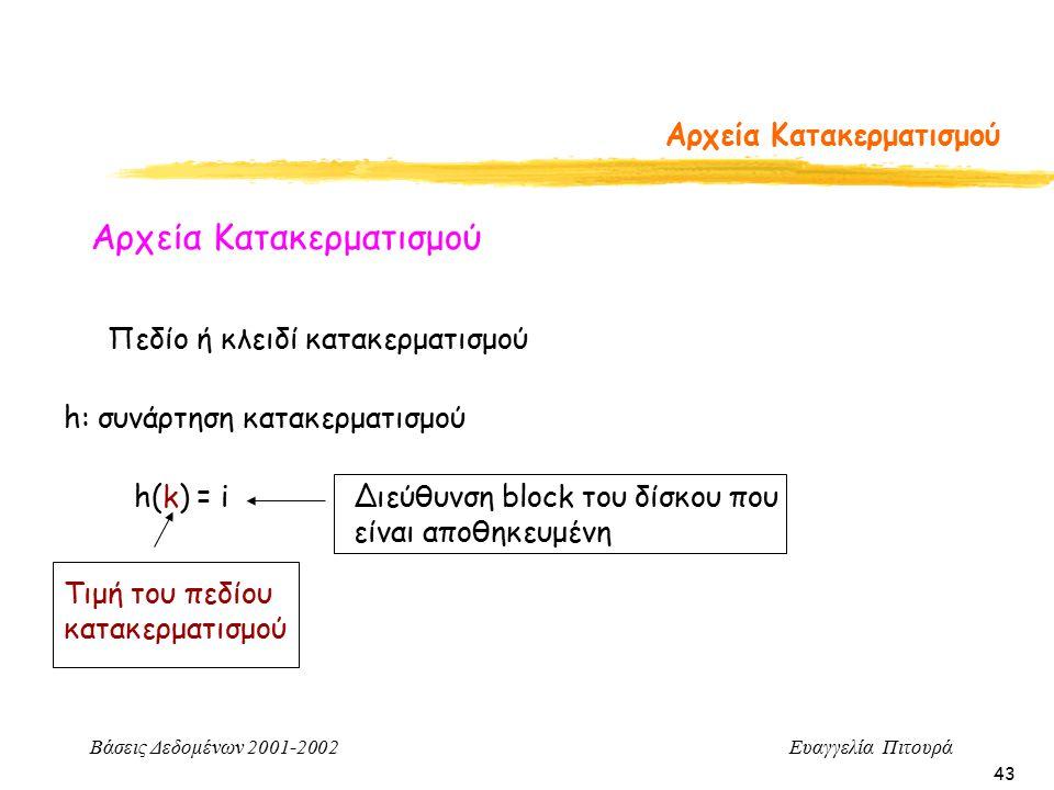 Βάσεις Δεδομένων 2001-2002 Ευαγγελία Πιτουρά 43 Αρχεία Κατακερματισμού Πεδίο ή κλειδί κατακερματισμού h: συνάρτηση κατακερματισμού h(k) = i Τιμή του πεδίου κατακερματισμού Διεύθυνση block του δίσκου που είναι αποθηκευμένη