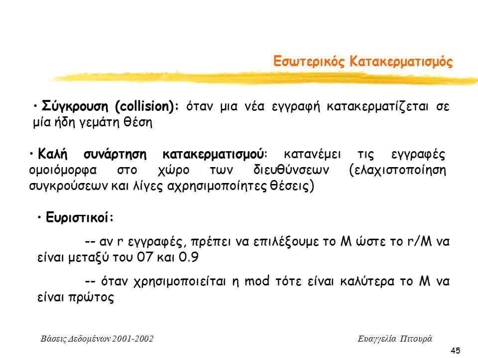 Βάσεις Δεδομένων 2001-2002 Ευαγγελία Πιτουρά 45 Εσωτερικός Κατακερματισμός Καλή συνάρτηση κατακερματισμού: κατανέμει τις εγγραφές ομοιόμορφα στο χώρο των διευθύνσεων (ελαχιστοποίηση συγκρούσεων και λίγες αχρησιμοποίητες θέσεις) Σύγκρουση (collision): όταν μια νέα εγγραφή κατακερματίζεται σε μία ήδη γεμάτη θέση Ευριστικοί: -- αν r εγγραφές, πρέπει να επιλέξουμε το Μ ώστε το r/M να είναι μεταξύ του 07 και 0.9 -- όταν χρησιμοποιείται η mod τότε είναι καλύτερα το Μ να είναι πρώτος