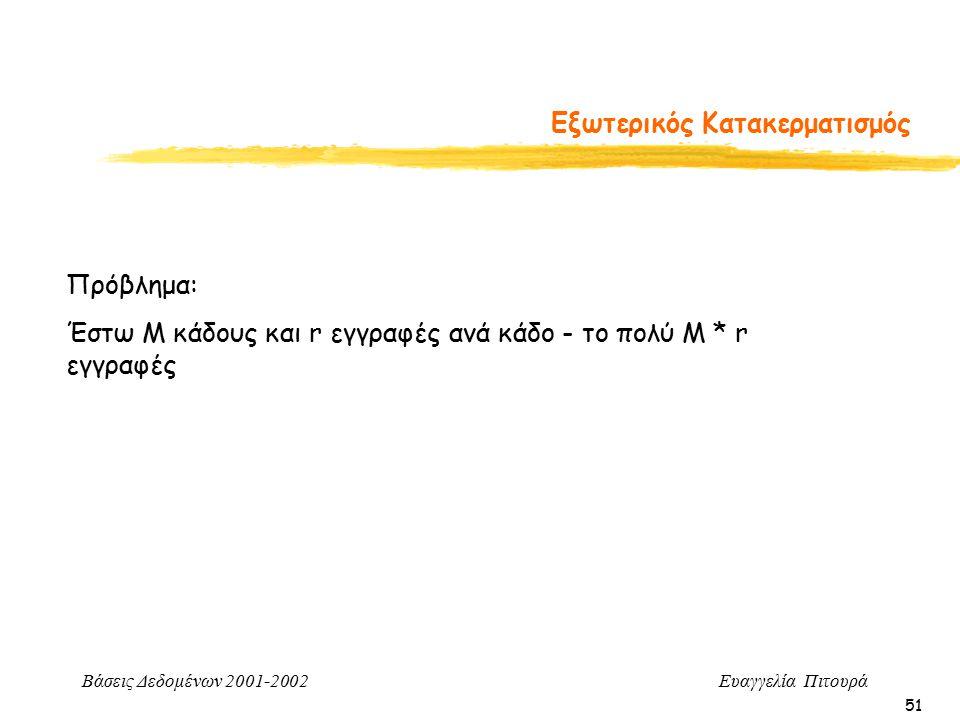 Βάσεις Δεδομένων 2001-2002 Ευαγγελία Πιτουρά 51 Εξωτερικός Κατακερματισμός Πρόβλημα: Έστω Μ κάδους και r εγγραφές ανά κάδο - το πολύ Μ * r εγγραφές