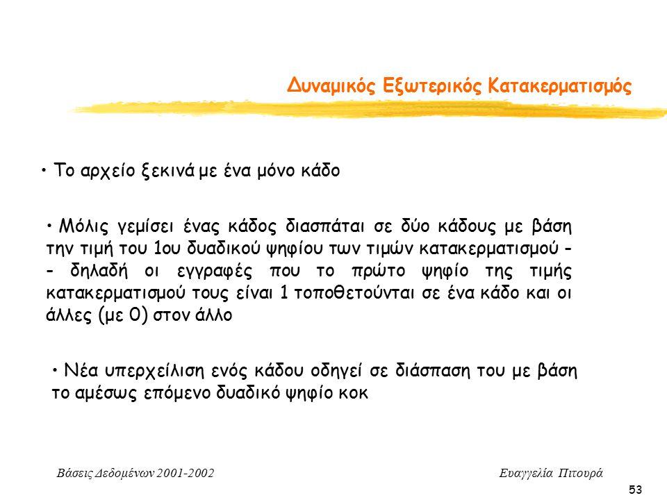 Βάσεις Δεδομένων 2001-2002 Ευαγγελία Πιτουρά 53 Δυναμικός Εξωτερικός Κατακερματισμός Το αρχείο ξεκινά με ένα μόνο κάδο Μόλις γεμίσει ένας κάδος διασπάται σε δύο κάδους με βάση την τιμή του 1ου δυαδικού ψηφίου των τιμών κατακερματισμού - - δηλαδή οι εγγραφές που το πρώτο ψηφίο της τιμής κατακερματισμού τους είναι 1 τοποθετούνται σε ένα κάδο και οι άλλες (με 0) στον άλλο Νέα υπερχείλιση ενός κάδου οδηγεί σε διάσπαση του με βάση το αμέσως επόμενο δυαδικό ψηφίο κοκ