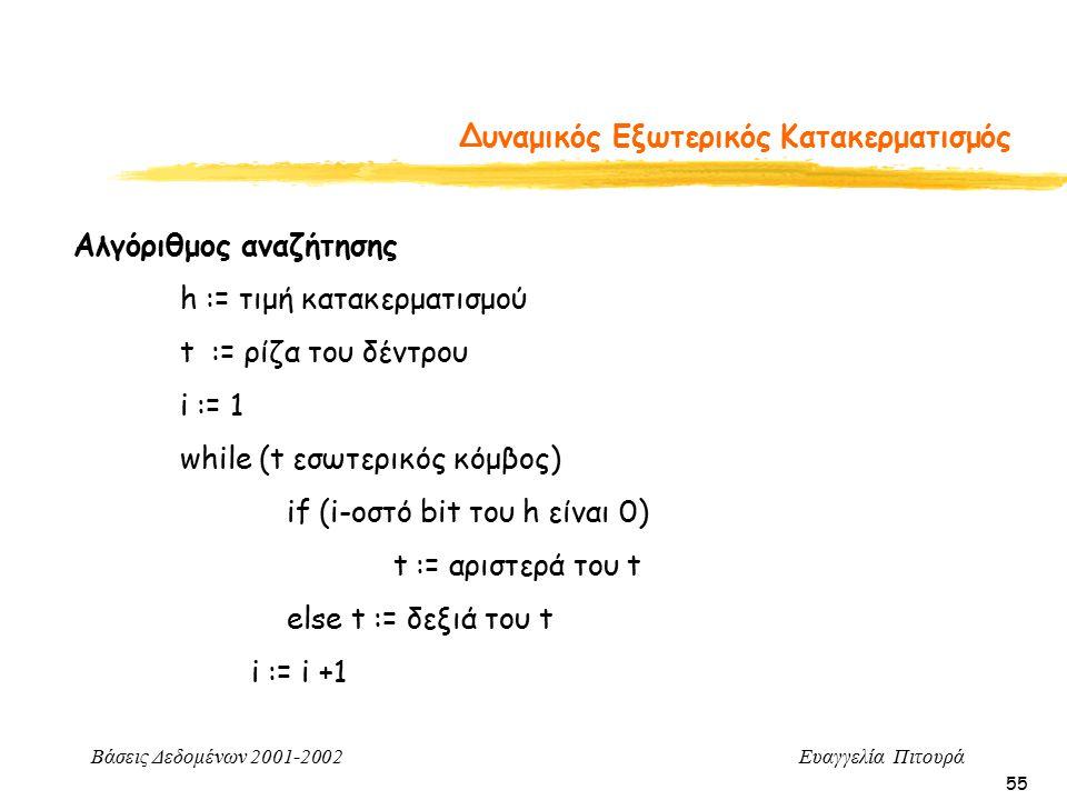 Βάσεις Δεδομένων 2001-2002 Ευαγγελία Πιτουρά 55 Δυναμικός Εξωτερικός Κατακερματισμός Αλγόριθμος αναζήτησης h := τιμή κατακερματισμού t := ρίζα του δέντρου i := 1 while (t εσωτερικός κόμβος) if (i-οστό bit του h είναι 0) t := αριστερά του t else t := δεξιά του t i := i +1