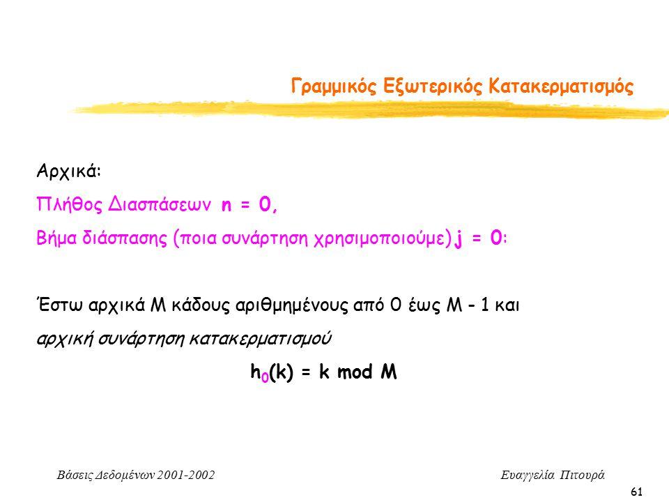 Βάσεις Δεδομένων 2001-2002 Ευαγγελία Πιτουρά 61 Γραμμικός Εξωτερικός Κατακερματισμός Αρχικά: Πλήθος Διασπάσεων n = 0, Βήμα διάσπασης (ποια συνάρτηση χρησιμοποιούμε) j = 0: Έστω αρχικά Μ κάδους αριθμημένους από 0 έως Μ - 1 και αρχική συνάρτηση κατακερματισμού h 0 (k) = k mod M