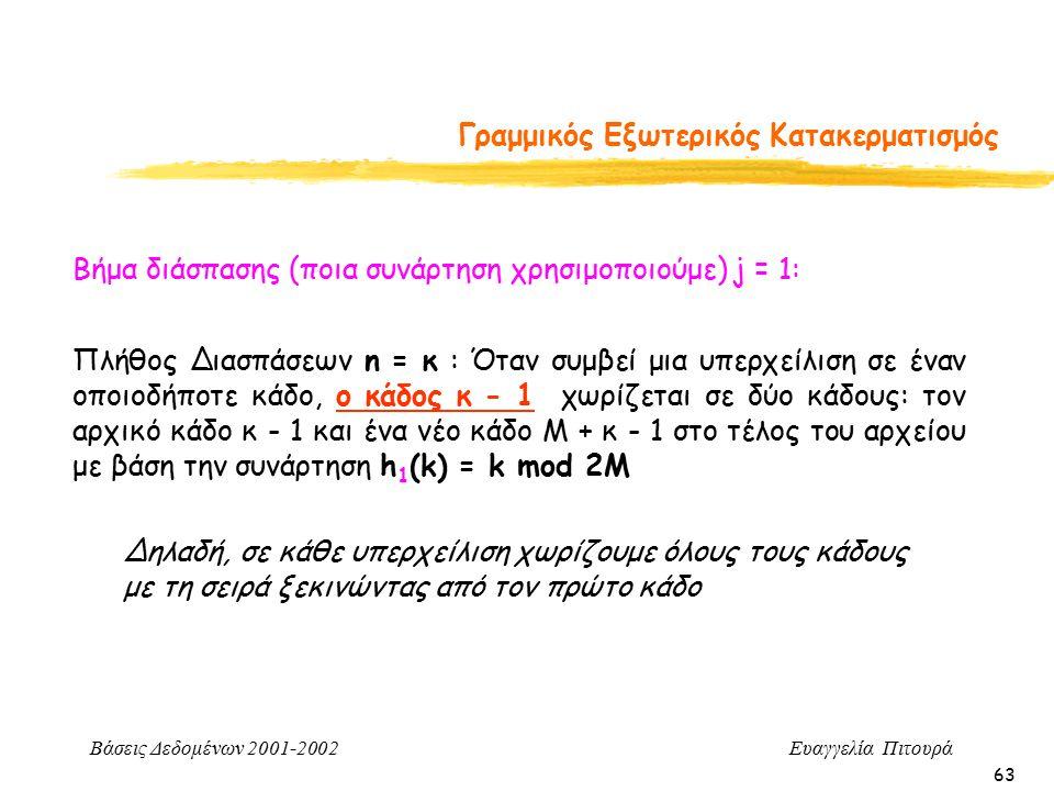 Βάσεις Δεδομένων 2001-2002 Ευαγγελία Πιτουρά 63 Γραμμικός Εξωτερικός Κατακερματισμός Πλήθος Διασπάσεων n = κ : Όταν συμβεί μια υπερχείλιση σε έναν οποιοδήποτε κάδο, ο κάδος κ - 1 χωρίζεται σε δύο κάδους: τον αρχικό κάδο κ - 1 και ένα νέο κάδο Μ + κ - 1 στο τέλος του αρχείου με βάση την συνάρτηση h 1 (k) = k mod 2M Βήμα διάσπασης (ποια συνάρτηση χρησιμοποιούμε) j = 1: Δηλαδή, σε κάθε υπερχείλιση χωρίζουμε όλους τους κάδους με τη σειρά ξεκινώντας από τον πρώτο κάδο