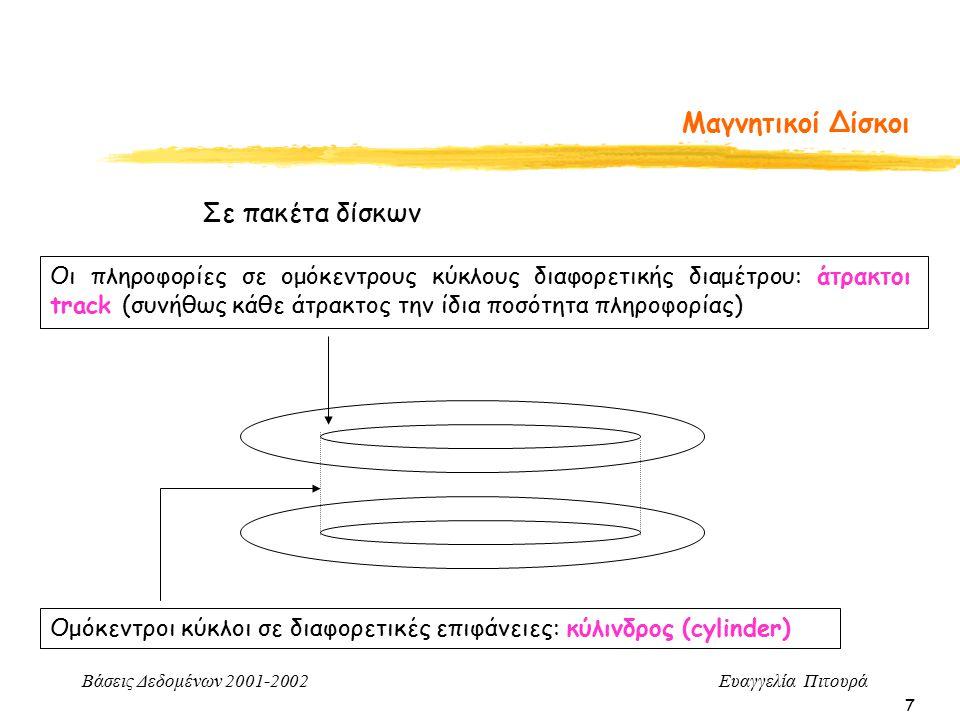 Βάσεις Δεδομένων 2001-2002 Ευαγγελία Πιτουρά 7 Μαγνητικοί Δίσκοι Σε πακέτα δίσκων Ομόκεντροι κύκλοι σε διαφορετικές επιφάνειες: κύλινδρος (cylinder) Οι πληροφορίες σε ομόκεντρους κύκλους διαφορετικής διαμέτρου: άτρακτοι track (συνήθως κάθε άτρακτος την ίδια ποσότητα πληροφορίας)