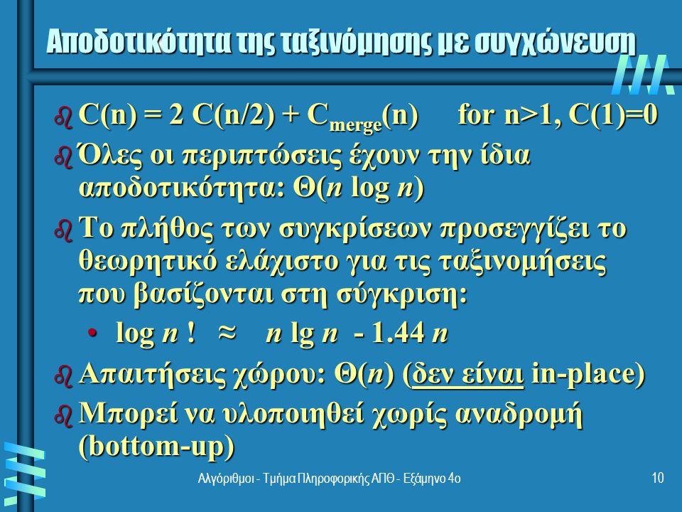 Γρήγορη ταξινόμηση (1) b Επιλέγουμε ένα aξονικό στοιχείο ως άξονα (το στοιχείο της διαμέρισης) b Τακτοποιούμε τη λίστα έτσι ώστε τα στοιχεία σε θέσεις πριν από τον άξονα να είναι μικρότερα ή ίσα προς τον άξονα, ενώ εκείνα που είναι μετά τον άξονα είναι μεγαλύτερά του (δες τον αλγόριθμο Partition) b Ανταλλάσουμε τον άξονα με το τελευταίο στοιχείο της πρώτης λίστας (δηλ, τη λίστα ≤ ), οπότε ο άξονας λαμβάνει την τελική του θέση b Ταξινομούμε τις δύο λίστες p A[i]≤p A[i]>p 11Αλγόριθμοι - Τμήμα Πληροφορικής ΑΠΘ - Εξάμηνο 4ο