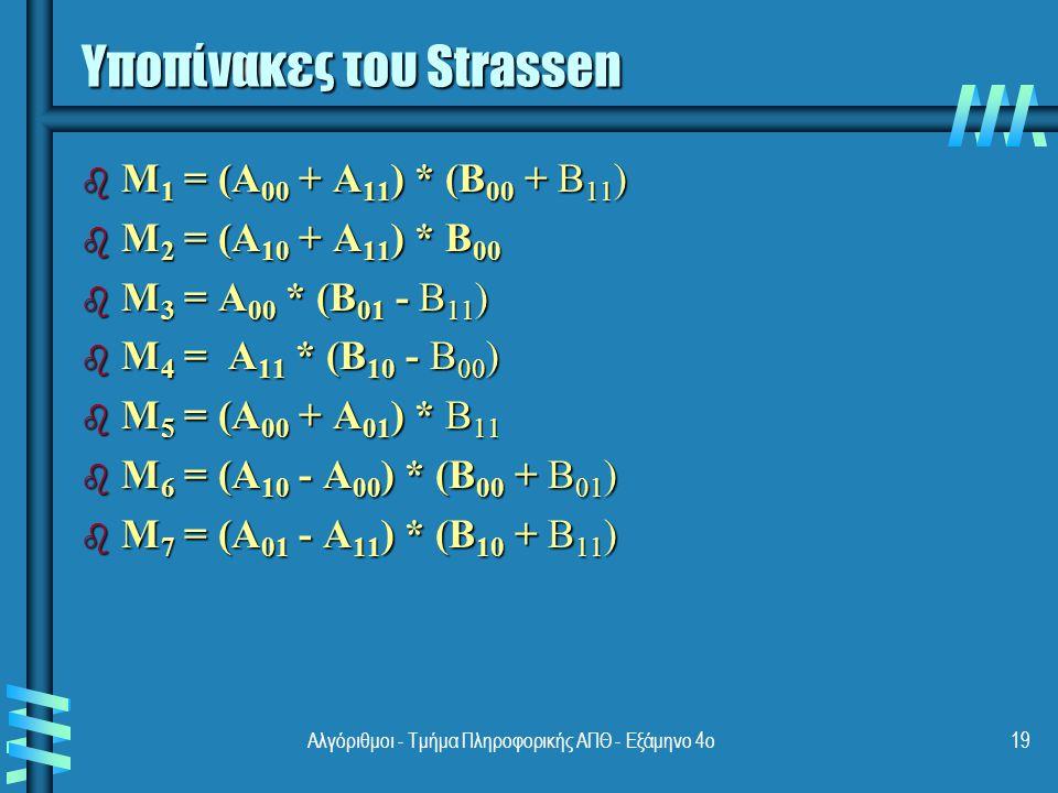 Αποδοτικότητα του αλγορίθμου Strassen b Αν το n δεν είναι δύναμη του 2, τότε οι πίνακες παραγεμίζονται με μηδενικά b Πλήθος πολλαπλασιασμών: b Πλήθος προσθέσεων: b Αναδρομή: b Άλλοι αλγόριθμοι έχουν βελτιώσει αυτό το αποτέλεσμα αλλά είναι ακόμη περισσότεροι σύνθετοι 20Αλγόριθμοι - Τμήμα Πληροφορικής ΑΠΘ - Εξάμηνο 4ο