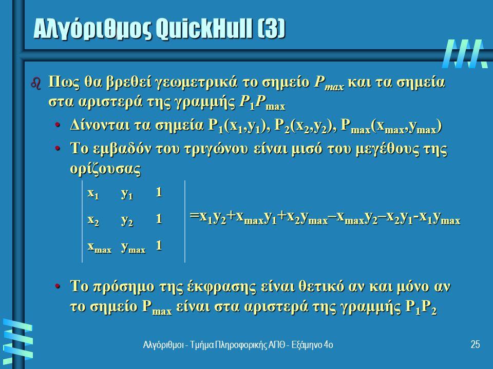 b Η εύρεση του πλέον απομακρυσμένου σημείου από την ευθεία P 1 P 2 μπορεί να βρεθεί σε γραμμικό χρόνο b Έτσι προκύπτει η ίδια πολυπλοκότητα με τη γρήγορη ταξινόμηση: Χειρότερη περίπτωση: Θ(n 2 )Χειρότερη περίπτωση: Θ(n 2 ) Μέση περίπτωση: Θ(n log n)Μέση περίπτωση: Θ(n log n) b Αν τα σημεία δεν είναι αρχικά ταξινομημένα στον άξονα x, αυτό επιτυγχάνεται με κόστος Θ(n log n) b Άλλοι αλγόριθμοι για το κυρτό περίβλημα: Σάρωση του Graham, DCHullΣάρωση του Graham, DCHull Επίσης σε Θ(n log n) Αποδοτικότητα Αλγορίθμου QuickHull (4) 26Αλγόριθμοι - Τμήμα Πληροφορικής ΑΠΘ - Εξάμηνο 4ο