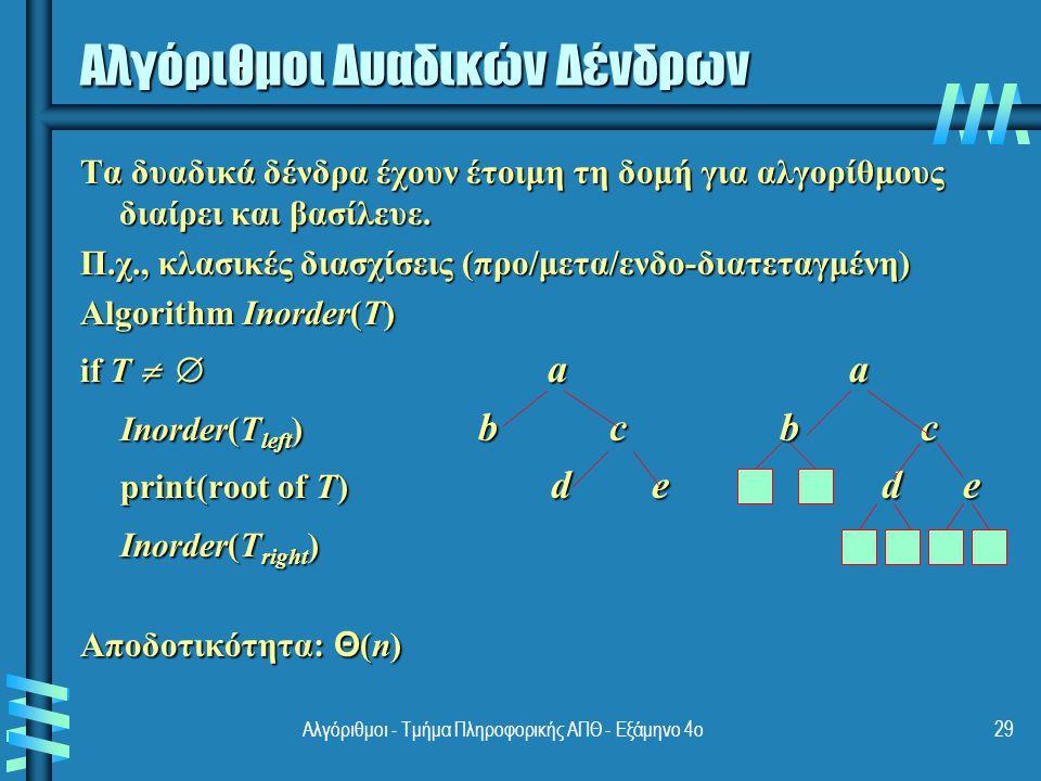 Αλγόριθμοι Δυαδικών Δένδρων (2) Άλλο παράδειγμα: υπολογισμός ύψους h(T) = max{h(T L ), h(T R )} + 1 if T  and h(  ) = -1 h(T) = max{h(T L ), h(T R )} + 1 if T   and h(  ) = -1 Αποδοτικότητα: Θ(n) 30Αλγόριθμοι - Τμήμα Πληροφορικής ΑΠΘ - Εξάμηνο 4ο