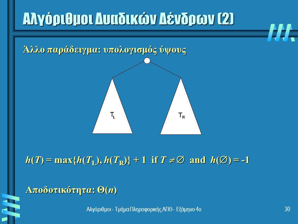 Αλγόριθμοι Δυαδικών Δένδρων (2) Άλλο παράδειγμα: υπολογισμός ύψους h(T) = max{h(T L ), h(T R )} + 1 if T  and h(  ) = -1 h(T) = max{h(T L ), h(T R
