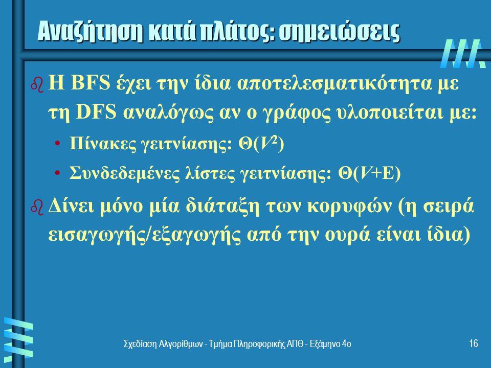 Σχεδίαση Αλγορίθμων - Τμήμα Πληροφορικής ΑΠΘ - Eξάμηνο 4ο16 b b Η BFS έχει την ίδια αποτελεσματικότητα με τη DFS αναλόγως αν ο γράφος υλοποιείται με: Πίνακες γειτνίασης: Θ(V 2 ) Συνδεδεμένες λίστες γειτνίασης: Θ(V+E) b b Δίνει μόνο μία διάταξη των κορυφών (η σειρά εισαγωγής/εξαγωγής από την ουρά είναι ίδια) Αναζήτηση κατά πλάτος: σημειώσεις