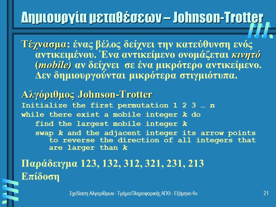 Σχεδίαση Αλγορίθμων - Τμήμα Πληροφορικής ΑΠΘ - Eξάμηνο 4ο21 Δημιουργία μεταθέσεων – Johnson-Trotter Τέχνασμα κινητό (mobile) Τέχνασμα: ένας βέλος δείχνει την κατεύθυνση ενός αντικειμένου.