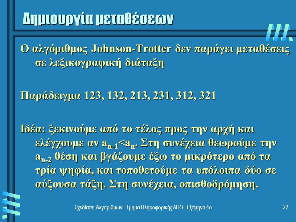 Σχεδίαση Αλγορίθμων - Τμήμα Πληροφορικής ΑΠΘ - Eξάμηνο 4ο22 Ο αλγόριθμος Johnson-Trotter δεν παράγει μεταθέσεις σε λεξικογραφική διάταξη Παράδειγμα 123, 132, 213, 231, 312, 321 Ιδέα: ξεκινούμε από το τέλος προς την αρχή και ελέγχουμε αν a n-1 <a n.
