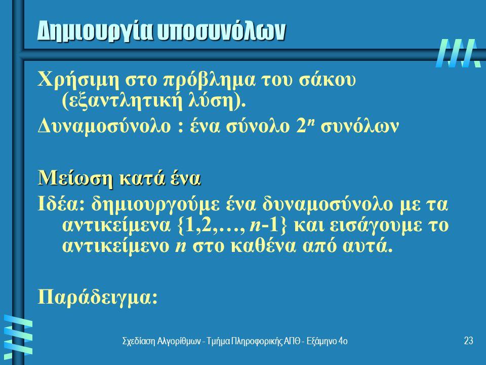 Σχεδίαση Αλγορίθμων - Τμήμα Πληροφορικής ΑΠΘ - Eξάμηνο 4ο23 Δημιουργία υποσυνόλων Χρήσιμη στο πρόβλημα του σάκου (εξαντλητική λύση).