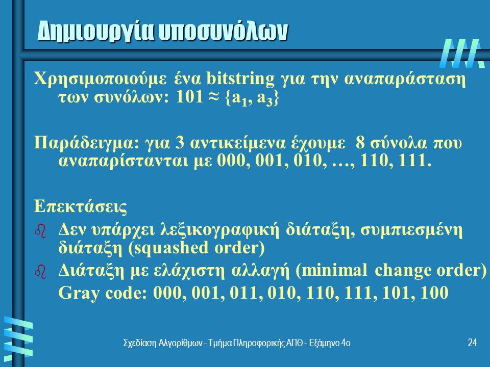 Σχεδίαση Αλγορίθμων - Τμήμα Πληροφορικής ΑΠΘ - Eξάμηνο 4ο24 Χρησιμοποιούμε ένα bitstring για την αναπαράσταση των συνόλων: 101 ≈ {a 1, a 3 } Παράδειγμα: για 3 αντικείμενα έχουμε 8 σύνολα που αναπαρίστανται με 000, 001, 010, …, 110, 111.