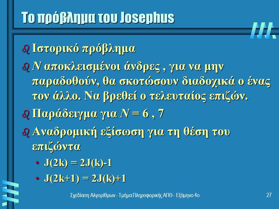 Σχεδίαση Αλγορίθμων - Τμήμα Πληροφορικής ΑΠΘ - Eξάμηνο 4ο27 Το πρόβλημα του Josephus b Ιστορικό πρόβλημα b N αποκλεισμένοι άνδρες, για να μην παραδοθούν, θα σκοτώσουν διαδοχικά ο ένας τον άλλο.