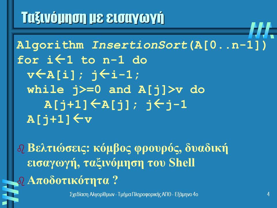 Σχεδίαση Αλγορίθμων - Τμήμα Πληροφορικής ΑΠΘ - Eξάμηνο 4ο4 Ταξινόμηση με εισαγωγή Algorithm InsertionSort(A[0..n-1]) for i  1 to n-1 do v  A[i]; j  i-1; while j>=0 and A[j]>v do A[j+1]  A[j]; j  j-1 A[j+1]  v b b Βελτιώσεις: κόμβος φρουρός, δυαδική εισαγωγή, ταξινόμηση του Shell b b Αποδοτικότητα