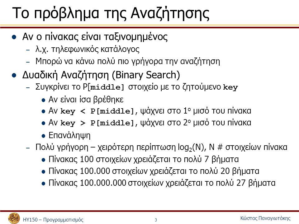 ΗΥ150 – Προγραμματισμός Κώστας Παναγιωτάκης 4 Binary Search – Υλοποίηση με επανάληψη int binaryLoopSearch(int p[], int searchkey, int low, int high) { int middle; while ( low <= high ) { middle = (low + high ) / 2; if (searchkey == p[middle]) return middle; else if (searchkey < p[middle] ) high = middle – 1; else low = middle + 1; } return -1; }