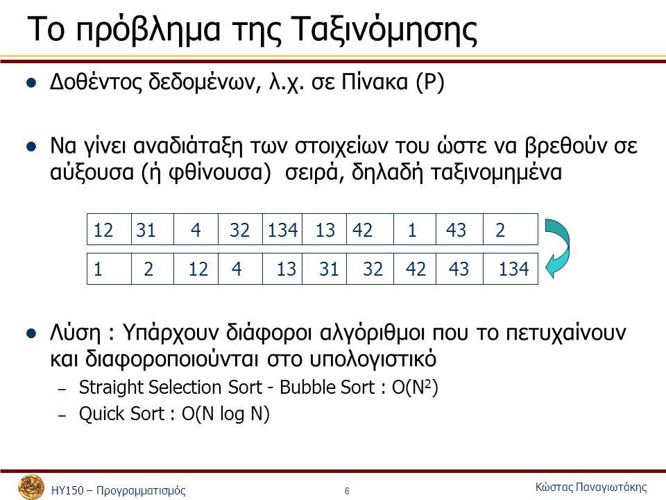 ΗΥ150 – Προγραμματισμός Κώστας Παναγιωτάκης 7 QSort: Ψευδοκώδικας QSort(Πίνακας Π, δείκτης Α, δείκτης Τ) Ταξινομεί τον υποπίνακα Π[Α] έως Π[Τ] Αν Α  Τ, επέστρεψε Διαφορετικά, – Διάλεξε ένα στοιχείο του πίνακα (pivot), έστω το μεσαίο Λ = Π[(Α+Τ)/2] – Βρες την θέση Θ του Λ που θα έχει στην τελική ταξινόμηση – Μετέφερε τα στοιχεία του Π[Α] έως και Π[Τ] έτσι ώστε: Π[Χ]  Λ, αν Χ < Θ Π[Χ] > Λ, αν Χ > Θ QSort(Π, Α, Θ-1) QSort(Π, Θ+1, Τ)