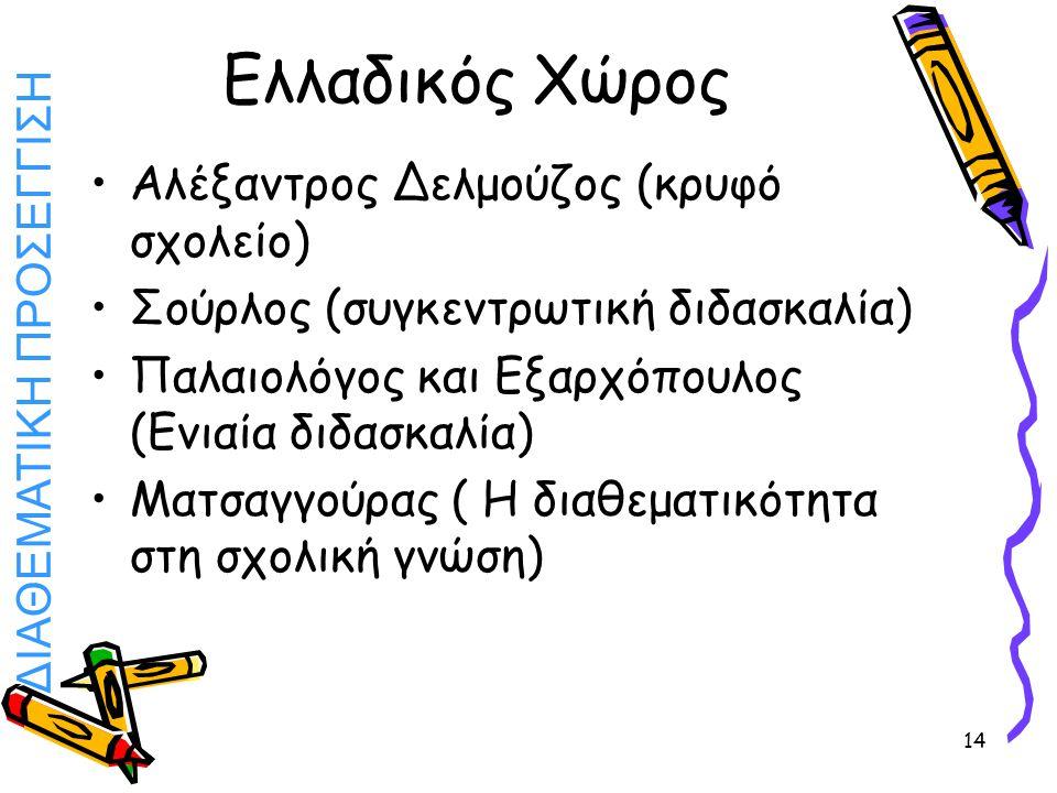 ΔΙΑΘΕΜΑΤΙΚΗ ΠΡΟΣΕΓΓΙΣΗ 14 Ελλαδικός Χώρος Αλέξαντρος Δελμούζος (κρυφό σχολείο) Σούρλος (συγκεντρωτική διδασκαλία) Παλαιολόγος και Εξαρχόπουλος (Ενιαία
