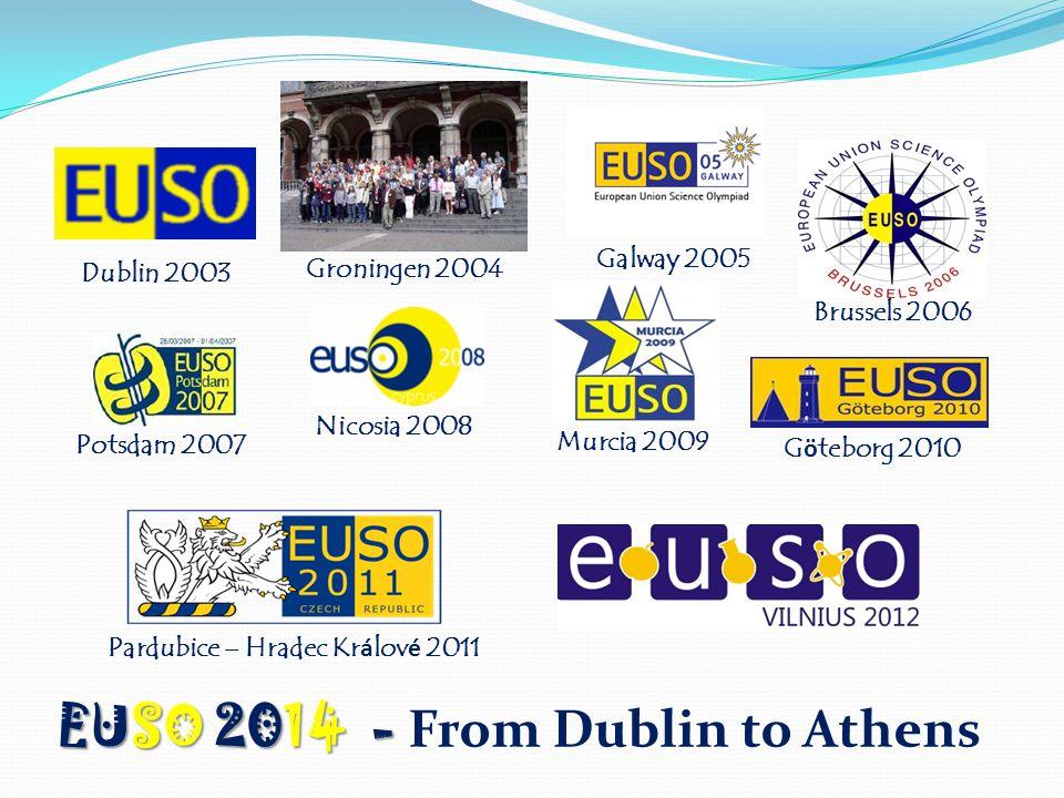 Dublin 2003 Groningen 2004 Galway 2005 Brussels 2006 Potsdam 2007 Nicosia 2008 Murcia 2009 G ö teborg 2010 Pardubice – Hradec Kr á lov é 2011 EUSO 2014 - EUSO 2014 - From Dublin to Athens
