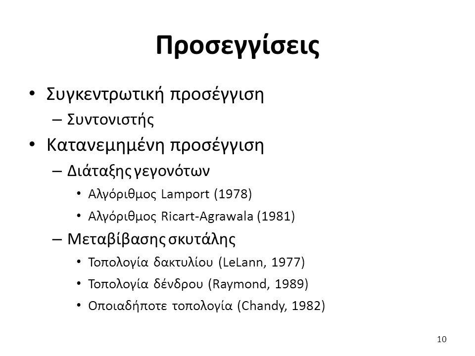 Προσεγγίσεις Συγκεντρωτική προσέγγιση – Συντονιστής Κατανεμημένη προσέγγιση – Διάταξης γεγονότων Αλγόριθμος Lamport (1978) Αλγόριθμος Ricart-Agrawala (1981) – Μεταβίβασης σκυτάλης Τοπολογία δακτυλίου (LeLann, 1977) Τοπολογία δένδρου (Raymond, 1989) Οποιαδήποτε τοπολογία (Chandy, 1982) 10