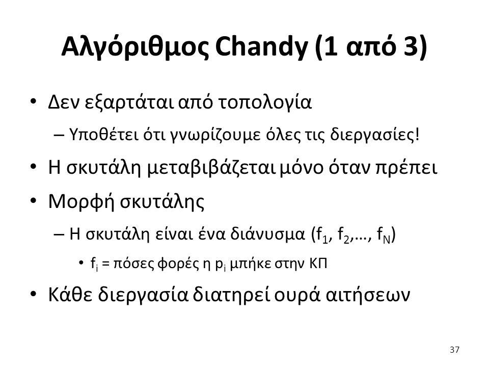 Αλγόριθμος Chandy (1 από 3) Δεν εξαρτάται από τοπολογία – Υποθέτει ότι γνωρίζουμε όλες τις διεργασίες.