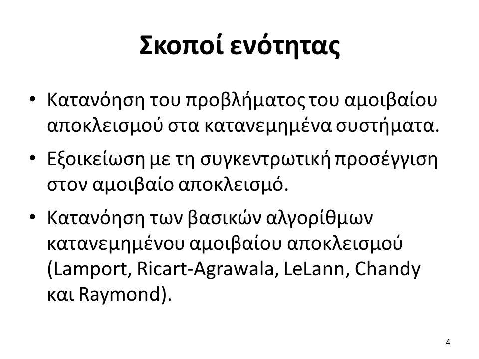 Περιεχόμενα ενότητας Πρόβλημα αμοιβαίου αποκλεισμού Συγκεντρωτική προσέγγιση Αλγόριθμος Lamport Αλγόριθμος Ricart-Agrawala Αλγόριθμος LeLann Αλγόριθμος Chandy Αλγόριθμος Raymond 5