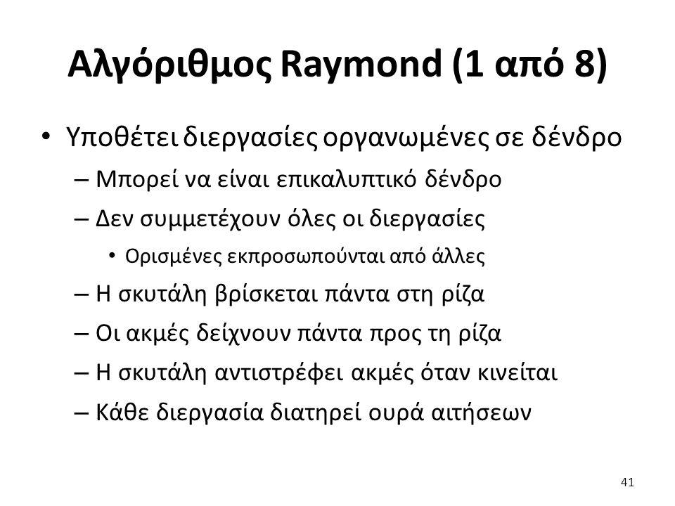 Αλγόριθμος Raymond (1 από 8) Υποθέτει διεργασίες οργανωμένες σε δένδρο – Μπορεί να είναι επικαλυπτικό δένδρο – Δεν συμμετέχουν όλες οι διεργασίες Ορισμένες εκπροσωπούνται από άλλες – Η σκυτάλη βρίσκεται πάντα στη ρίζα – Οι ακμές δείχνουν πάντα προς τη ρίζα – Η σκυτάλη αντιστρέφει ακμές όταν κινείται – Κάθε διεργασία διατηρεί ουρά αιτήσεων 41
