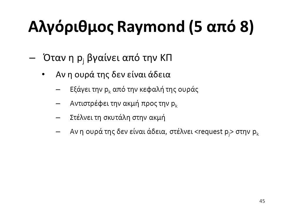 Αλγόριθμος Raymond (5 από 8) – Όταν η p j βγαίνει από την ΚΠ Aν η ουρά της δεν είναι άδεια – Εξάγει την p k από την κεφαλή της ουράς – Αντιστρέφει την ακμή προς την p k – Στέλνει τη σκυτάλη στην ακμή – Αν η ουρά της δεν είναι άδεια, στέλνει στην p k 45