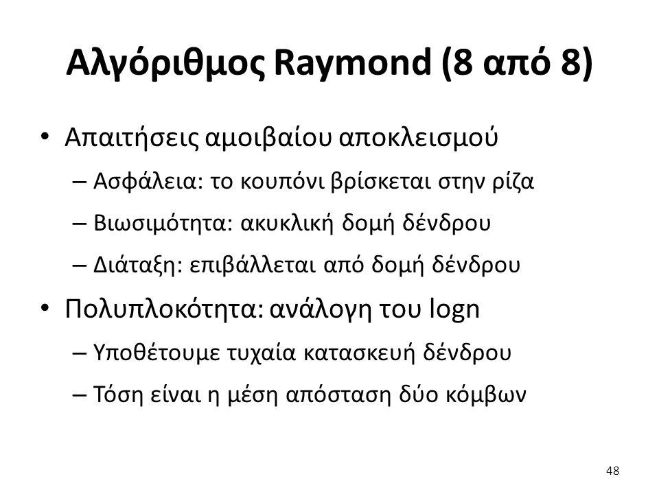 Αλγόριθμος Raymond (8 από 8) Απαιτήσεις αμοιβαίου αποκλεισμού – Ασφάλεια: το κουπόνι βρίσκεται στην ρίζα – Βιωσιμότητα: ακυκλική δομή δένδρου – Διάταξη: επιβάλλεται από δομή δένδρου Πολυπλοκότητα: ανάλογη του logn – Υποθέτουμε τυχαία κατασκευή δένδρου – Τόση είναι η μέση απόσταση δύο κόμβων 48