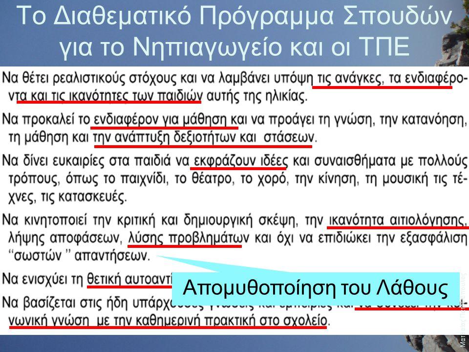 Το Διαθεματικό Πρόγραμμα Σπουδών για το Νηπιαγωγείο και οι ΤΠΕ Απομυθοποίηση του Λάθους Ματθαίος Πατρινόπουλος