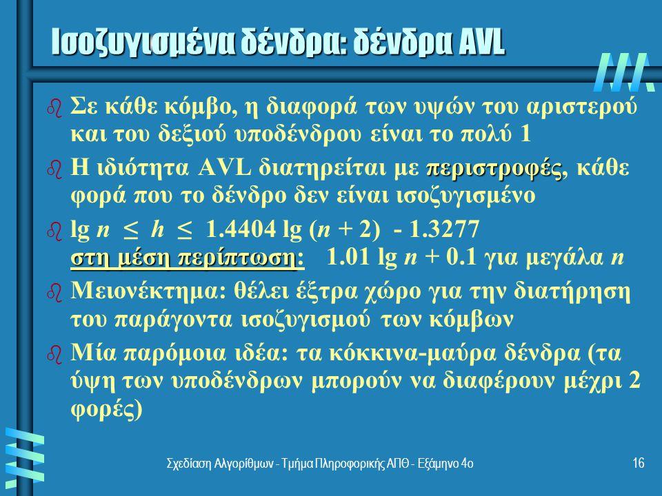 Σχεδίαση Αλγορίθμων - Τμήμα Πληροφορικής ΑΠΘ - Εξάμηνο 4ο16 Ισοζυγισμένα δένδρα: δένδρα AVL b b Σε κάθε κόμβο, η διαφορά των υψών του αριστερού και του δεξιού υποδένδρου είναι το πολύ 1 b περιστροφές b Η ιδιότητα AVL διατηρείται με περιστροφές, κάθε φορά που το δένδρο δεν είναι ισοζυγισμένο b στη μέση περίπτωση b lg n ≤ h ≤ 1.4404 lg (n + 2) - 1.3277 στη μέση περίπτωση: 1.01 lg n + 0.1 για μεγάλα n b b Μειονέκτημα: θέλει έξτρα χώρο για την διατήρηση του παράγοντα ισοζυγισμού των κόμβων b b Μία παρόμοια ιδέα: τα κόκκινα-μαύρα δένδρα (τα ύψη των υποδένδρων μπορούν να διαφέρουν μέχρι 2 φορές)
