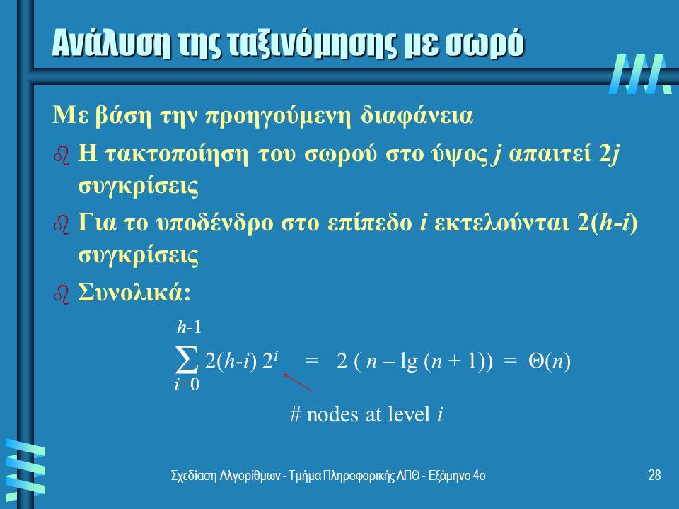 Σχεδίαση Αλγορίθμων - Τμήμα Πληροφορικής ΑΠΘ - Εξάμηνο 4ο28 Ανάλυση της ταξινόμησης με σωρό Με βάση την προηγούμενη διαφάνεια b b Η τακτοποίηση του σωρού στο ύψος j απαιτεί 2j συγκρίσεις b b Για το υποδένδρο στο επίπεδο i εκτελούνται 2(h-i) συγκρίσεις b b Συνολικά: Σ 2(h-i) 2 i = 2 ( n – lg (n + 1)) = Θ(n) i=0 h-1 # nodes at level i