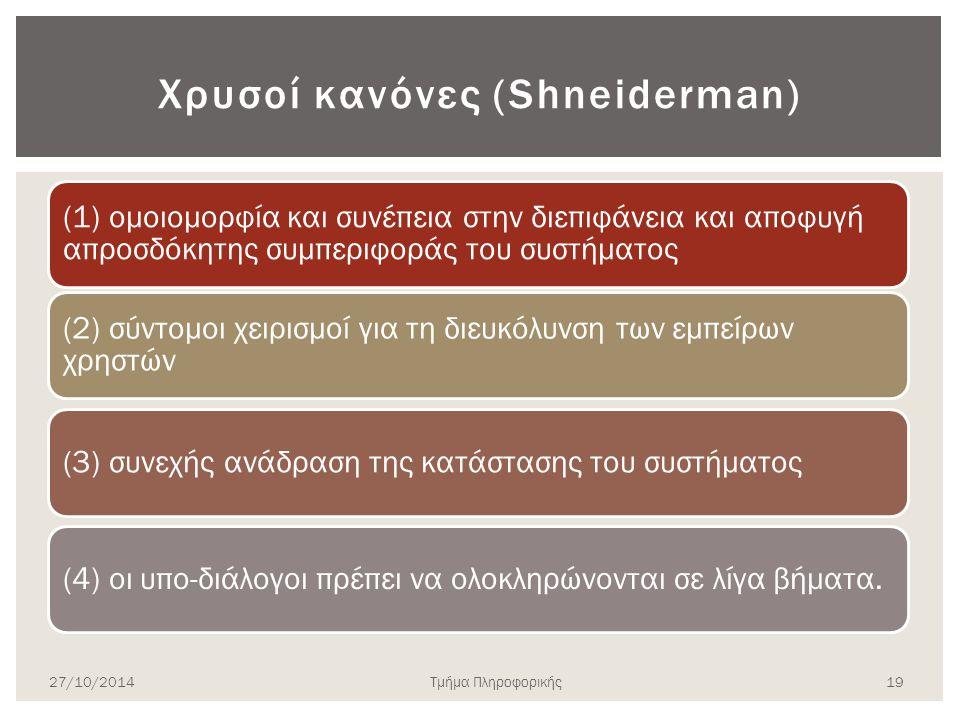 Χρυσοί κανόνες (Shneiderman) (1) ομοιομορφία και συνέπεια στην διεπιφάνεια και αποφυγή απροσδόκητης συμπεριφοράς του συστήματος (2) σύντομοι χειρισμοί για τη διευκόλυνση των εμπείρων χρηστών (3) συνεχής ανάδραση της κατάστασης του συστήματος(4) οι υπο-διάλογοι πρέπει να ολοκληρώνονται σε λίγα βήματα.