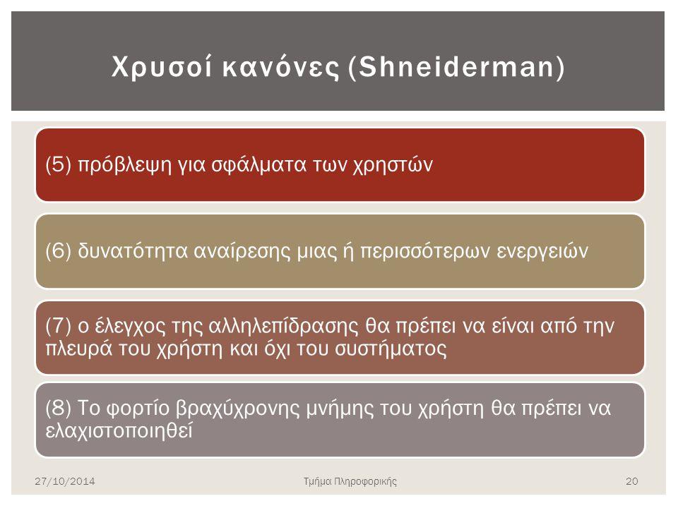 Χρυσοί κανόνες (Shneiderman) (5) πρόβλεψη για σφάλματα των χρηστών(6) δυνατότητα αναίρεσης μιας ή περισσότερων ενεργειών (7) ο έλεγχος της αλληλεπίδρασης θα πρέπει να είναι από την πλευρά του χρήστη και όχι του συστήματος (8) Το φορτίο βραχύχρονης μνήμης του χρήστη θα πρέπει να ελαχιστοποιηθεί 27/10/2014Τμήμα Πληροφορικής 20