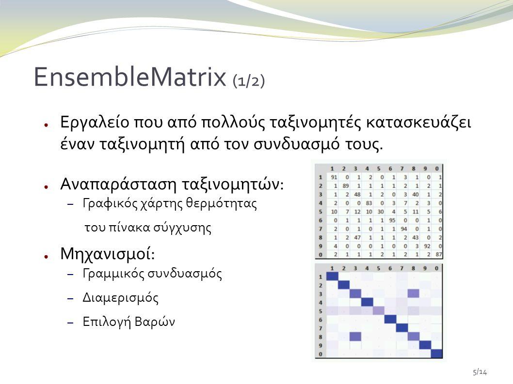 5/14 EnsembleMatrix (1/2) ● Εργαλείο που από πολλούς ταξινομητές κατασκευάζει έναν ταξινομητή από τον συνδυασμό τους.