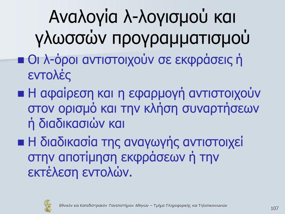 Εθνικόν και Καποδιστριακόν Πανεπιστήμιον Αθηνών – Τμήμα Πληροφορικής και Τηλεπικοινωνιών 107 Αναλογία λ-λογισμού και γλωσσών προγραμματισμού Οι λ-όροι