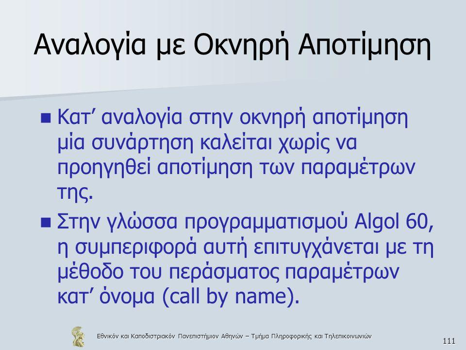 Εθνικόν και Καποδιστριακόν Πανεπιστήμιον Αθηνών – Τμήμα Πληροφορικής και Τηλεπικοινωνιών 111 Αναλογία με Οκνηρή Αποτίμηση Κατ' αναλογία στην οκνηρή απ
