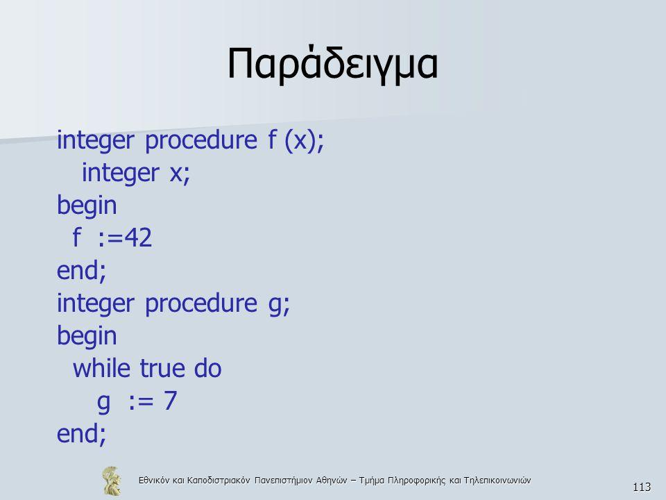 Εθνικόν και Καποδιστριακόν Πανεπιστήμιον Αθηνών – Τμήμα Πληροφορικής και Τηλεπικοινωνιών 113 Παράδειγμα integer procedure f (x); integer x; begin f :=42 end; integer procedure g; begin while true do g := 7 end;