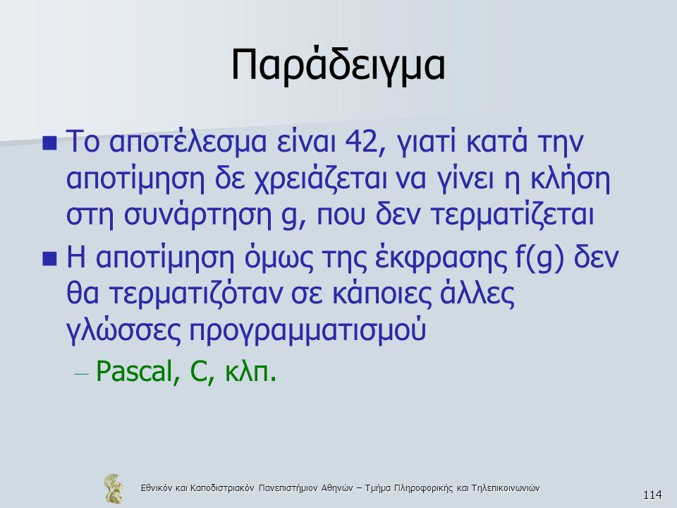 Εθνικόν και Καποδιστριακόν Πανεπιστήμιον Αθηνών – Τμήμα Πληροφορικής και Τηλεπικοινωνιών 114 Παράδειγμα Το αποτέλεσμα είναι 42, γιατί κατά την αποτίμηση δε χρειάζεται να γίνει η κλήση στη συνάρτηση g, που δεν τερματίζεται Η αποτίμηση όμως της έκφρασης f(g) δεν θα τερματιζόταν σε κάποιες άλλες γλώσσες προγραμματισμού – Pascal, C, κλπ.