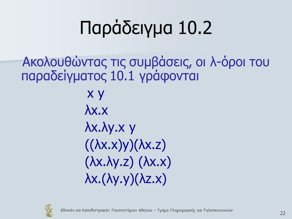 Εθνικόν και Καποδιστριακόν Πανεπιστήμιον Αθηνών – Τμήμα Πληροφορικής και Τηλεπικοινωνιών 22 Παράδειγμα 10.2 Ακολουθώντας τις συμβάσεις, οι λ-όροι του παραδείγματος 10.1 γράφονται x y λx.x λx.λy.x y ((λx.x)y)(λx.z) (λx.λy.z) (λx.x) λx.(λy.y)(λz.x)