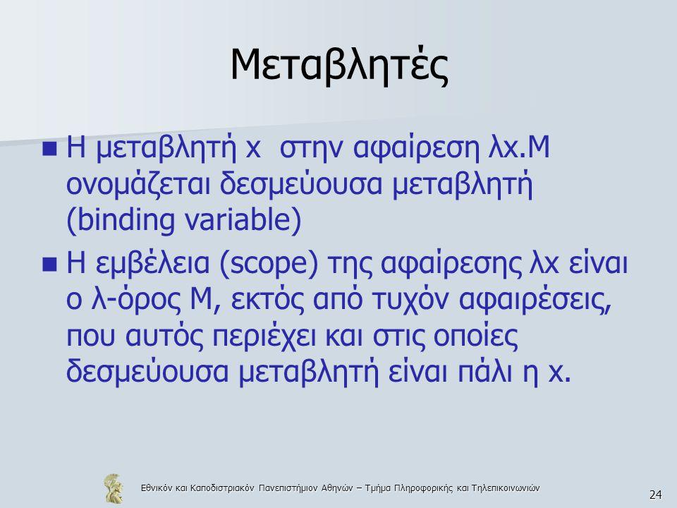 Εθνικόν και Καποδιστριακόν Πανεπιστήμιον Αθηνών – Τμήμα Πληροφορικής και Τηλεπικοινωνιών 24 Μεταβλητές Η μεταβλητή x στην αφαίρεση λx.Μ ονομάζεται δεσμεύουσα μεταβλητή (binding variable) Η εμβέλεια (scope) της αφαίρεσης λx είναι ο λ-όρος Μ, εκτός από τυχόν αφαιρέσεις, που αυτός περιέχει και στις οποίες δεσμεύουσα μεταβλητή είναι πάλι η x.