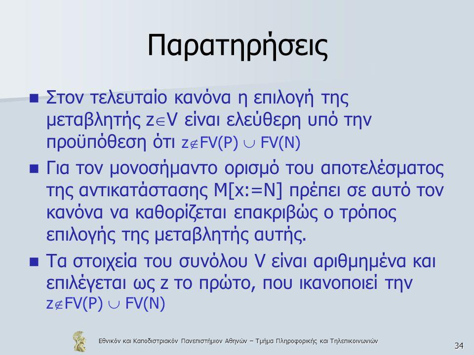 Εθνικόν και Καποδιστριακόν Πανεπιστήμιον Αθηνών – Τμήμα Πληροφορικής και Τηλεπικοινωνιών 34 Παρατηρήσεις Στον τελευταίο κανόνα η επιλογή της μεταβλητής z  V είναι ελεύθερη υπό την προϋπόθεση ότι z  FV(P)  FV(N) Για τον μονοσήμαντο ορισμό του αποτελέσματος της αντικατάστασης Μ[x:=N] πρέπει σε αυτό τον κανόνα να καθορίζεται επακριβώς ο τρόπος επιλογής της μεταβλητής αυτής.
