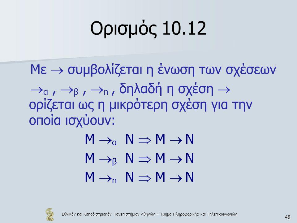 Εθνικόν και Καποδιστριακόν Πανεπιστήμιον Αθηνών – Τμήμα Πληροφορικής και Τηλεπικοινωνιών 48 Ορισμός 10.12 Με  συμβολίζεται η ένωση των σχέσεων  α, 