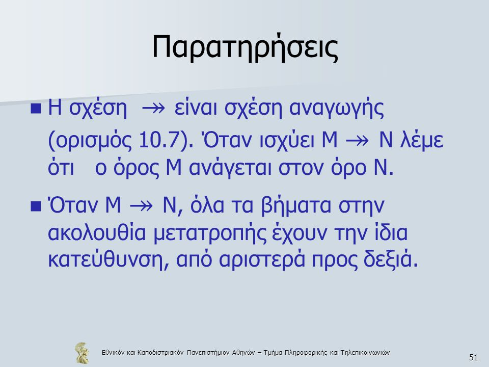 Εθνικόν και Καποδιστριακόν Πανεπιστήμιον Αθηνών – Τμήμα Πληροφορικής και Τηλεπικοινωνιών 51 Παρατηρήσεις Η σχέση ↠ είναι σχέση αναγωγής (ορισμός 10.7)