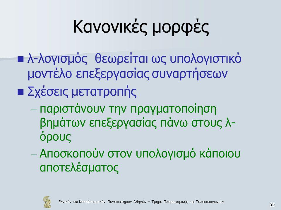 Εθνικόν και Καποδιστριακόν Πανεπιστήμιον Αθηνών – Τμήμα Πληροφορικής και Τηλεπικοινωνιών 55 Κανονικές μορφές λ-λογισμός θεωρείται ως υπολογιστικό μοντέλο επεξεργασίας συναρτήσεων Σχέσεις μετατροπής – παριστάνουν την πραγματοποίηση βημάτων επεξεργασίας πάνω στους λ- όρους – Αποσκοπούν στον υπολογισμό κάποιου αποτελέσματος
