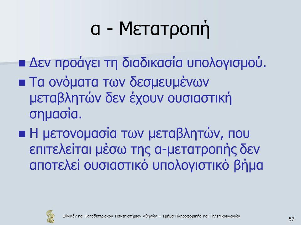 Εθνικόν και Καποδιστριακόν Πανεπιστήμιον Αθηνών – Τμήμα Πληροφορικής και Τηλεπικοινωνιών 57 α - Μετατροπή Δεν προάγει τη διαδικασία υπολογισμού. Τα ον