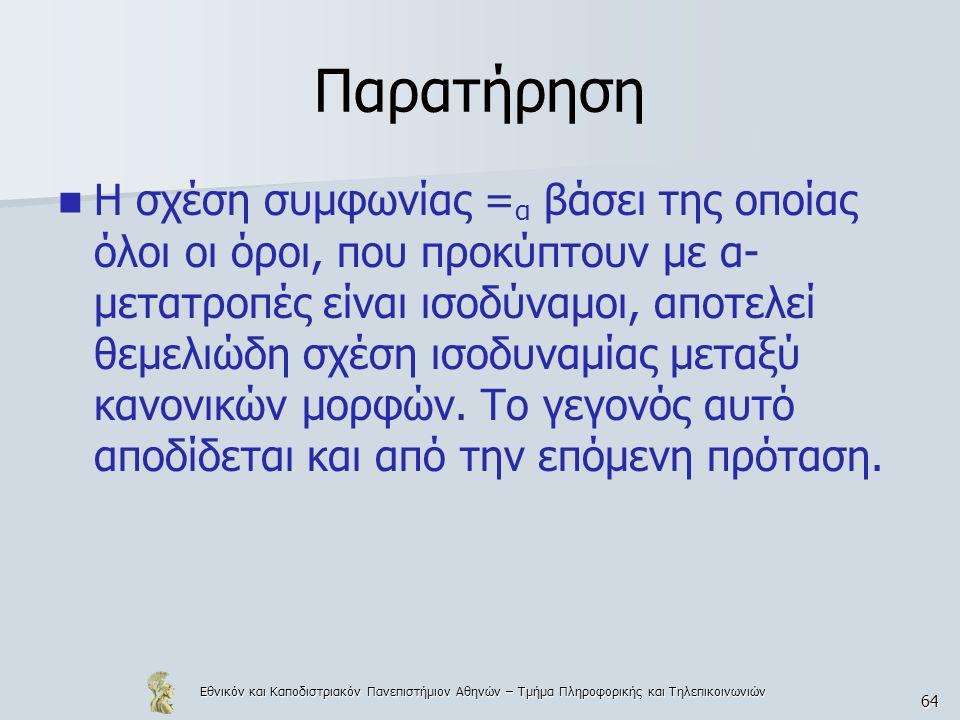 Εθνικόν και Καποδιστριακόν Πανεπιστήμιον Αθηνών – Τμήμα Πληροφορικής και Τηλεπικοινωνιών 64 Παρατήρηση Η σχέση συμφωνίας = α βάσει της οποίας όλοι οι
