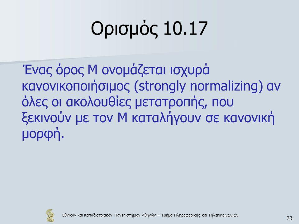 Εθνικόν και Καποδιστριακόν Πανεπιστήμιον Αθηνών – Τμήμα Πληροφορικής και Τηλεπικοινωνιών 73 Ορισμός 10.17 Ένας όρος Μ ονομάζεται ισχυρά κανονικοποιήσι